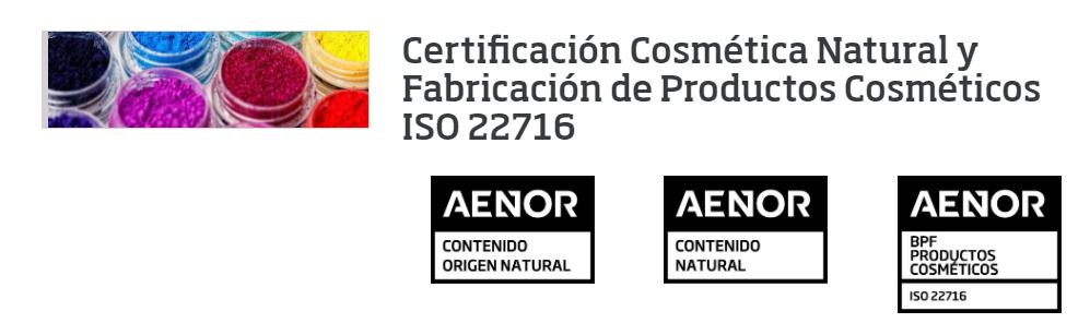 Nueva certificación de Cosmética Natural y Fabricación de Productos Cosméticos de AENOR